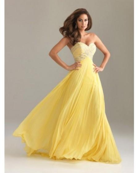 Длинное желтое платье